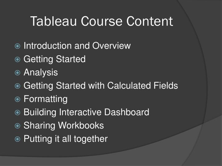 Tableau Course Content