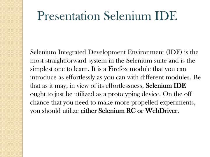 Presentation Selenium IDE