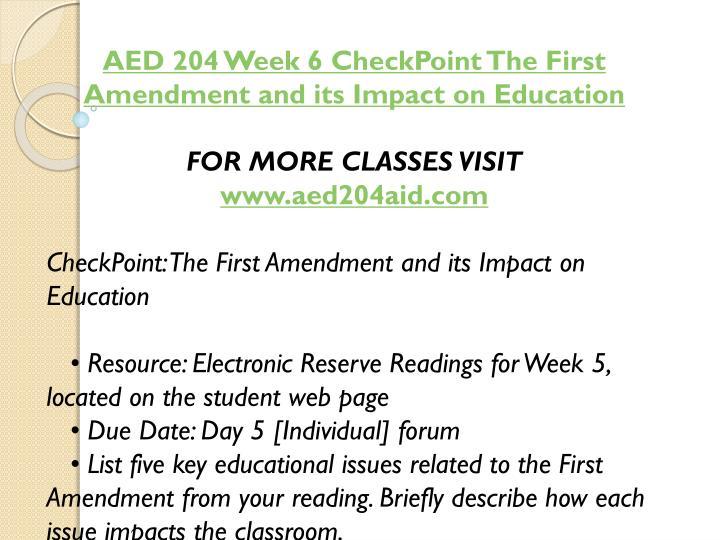 AED 204 Week 6