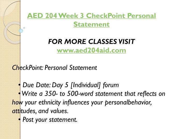 AED 204 Week 3