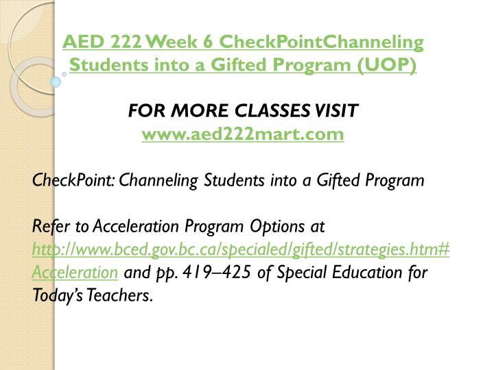 AED 222 Week 6