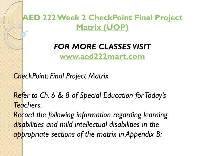 AED 222 Week 2
