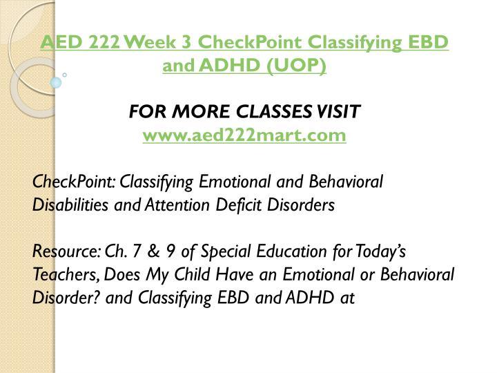 AED 222 Week 3