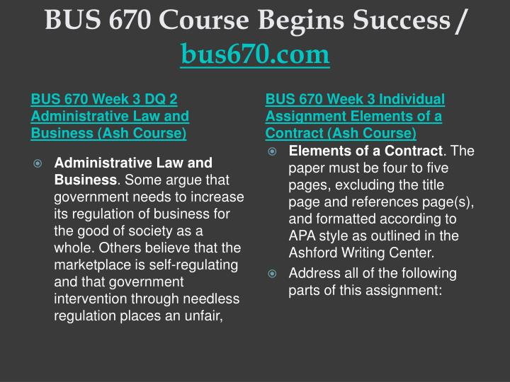 BUS 670 Course Begins Success /