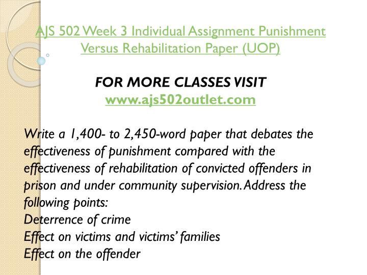 AJS 502 Week 3 Individual Assignment Punishment Versus Rehabilitation Paper (UOP)