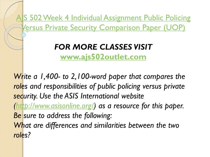 AJS 502 Week 4 Individual Assignment Public Policing Versus Private Security Comparison Paper (UOP)