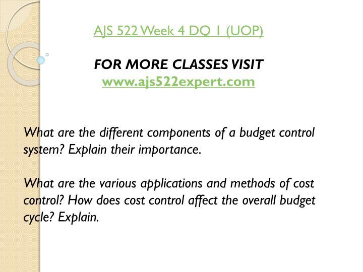 AJS 522 Week 4 DQ 1 (UOP)