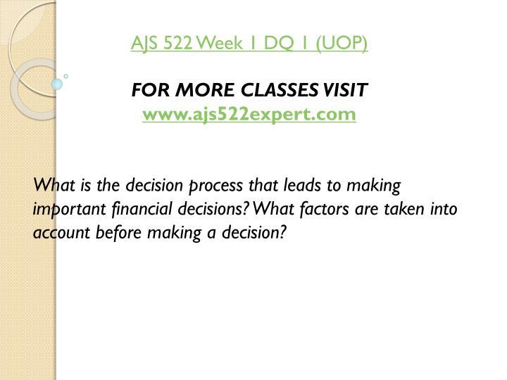AJS 522 Week 1 DQ 1 (UOP)