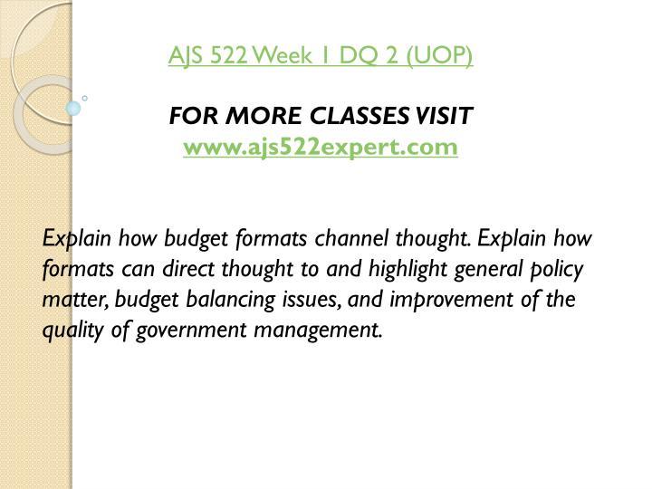 AJS 522 Week 1 DQ 2 (UOP)