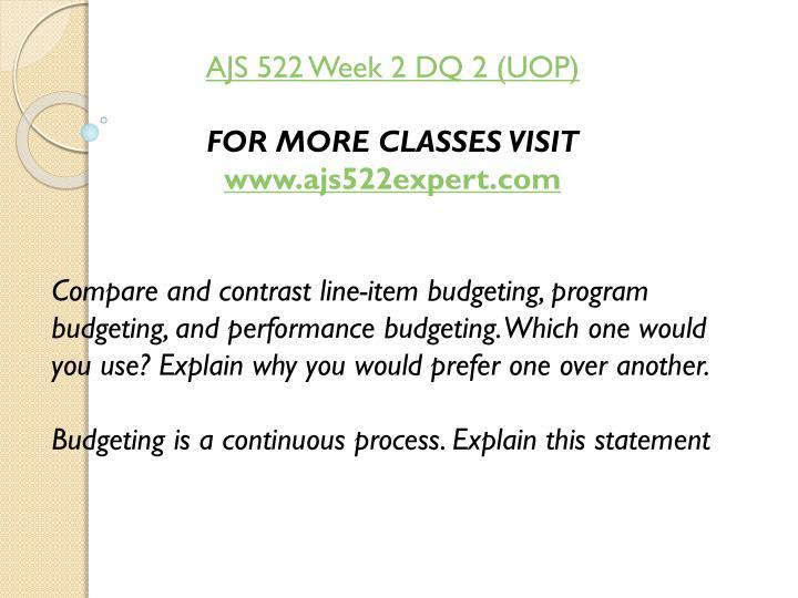 AJS 522 Week 2 DQ 2 (UOP)