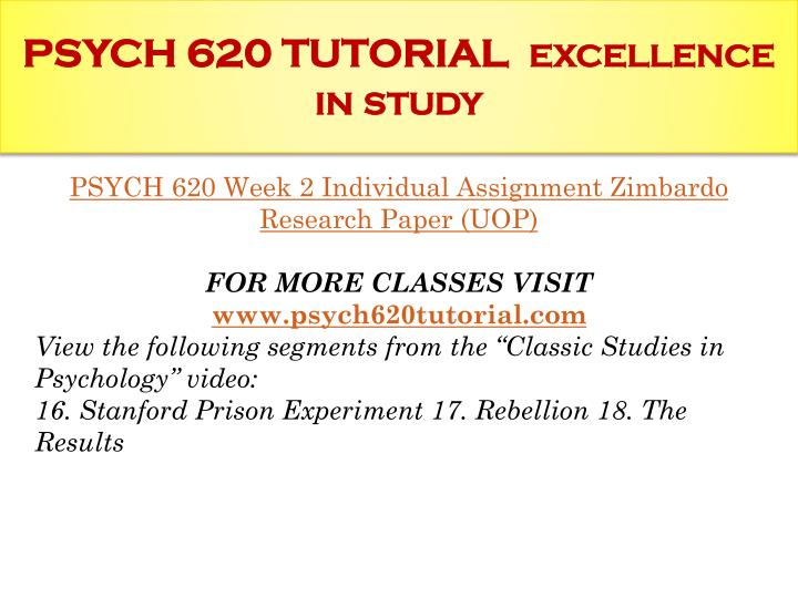 PSYCH 620 TUTORIAL