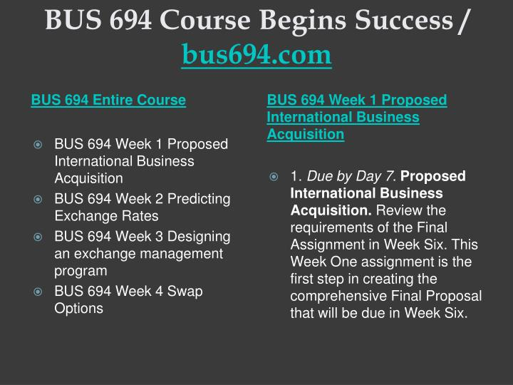Bus 694 course begins success bus694 com1