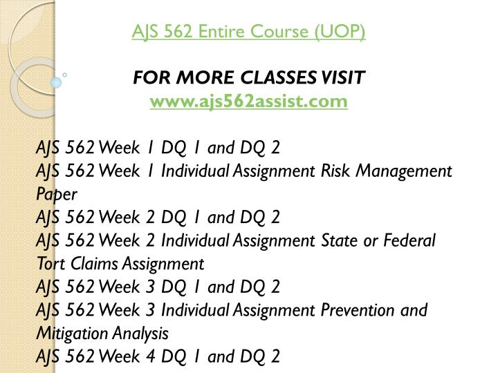 AJS 562 Entire Course (UOP)