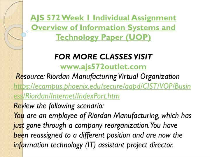 AJS 572 Week 1 Individual Assignment Overview of Information Systems and Technology Paper (UOP)