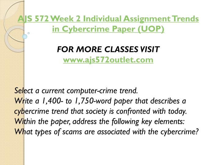 AJS 572 Week 2 Individual Assignment Trends in Cybercrime Paper (UOP)