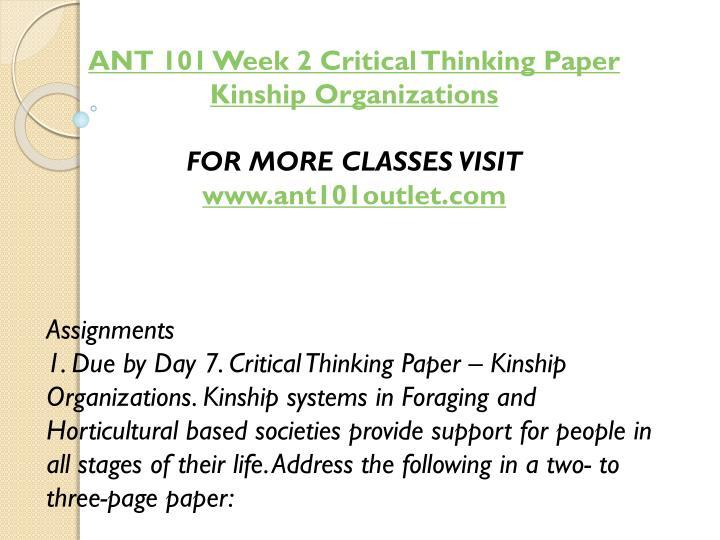 ANT 101 Week 2 Critical Thinking Paper Kinship Organizations