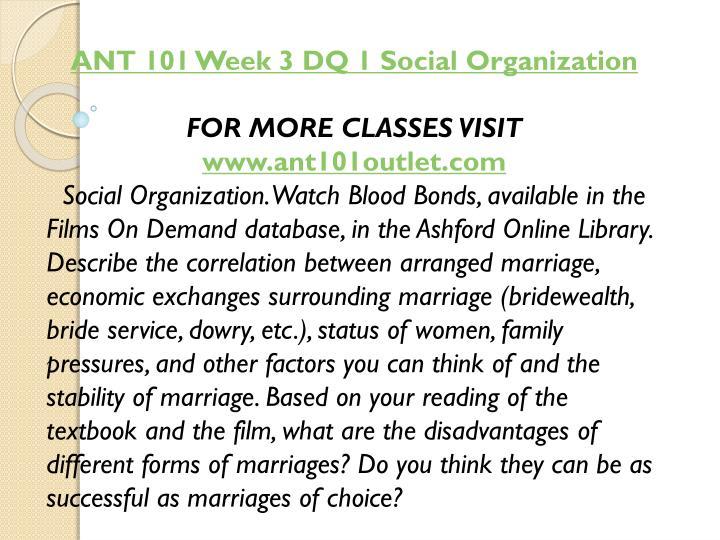 ANT 101 Week 3 DQ 1 Social Organization