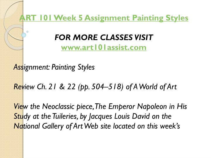 ART 101 Week 5 Assignment Painting Styles