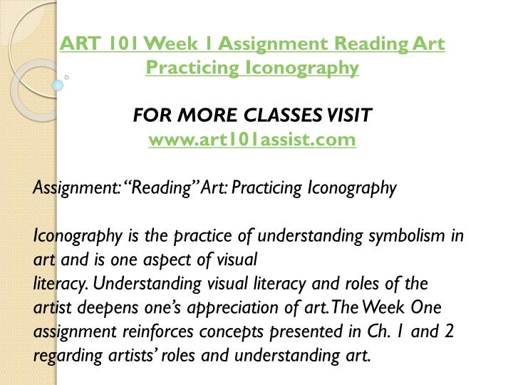 ART 101 Week 1 Assignment Reading Art Practicing Iconography