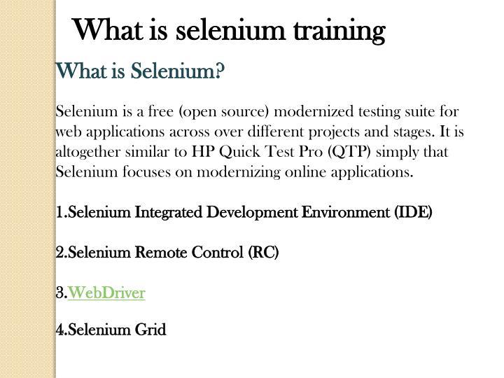 What is selenium training