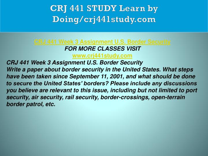 CRJ 441 STUDY Learn by Doing/crj441study.com