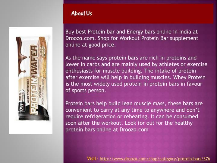 Buy best Protein bar and Energy bars online in India at Droozo.com. Shop for Workout Protein Bar supplement online at good price.