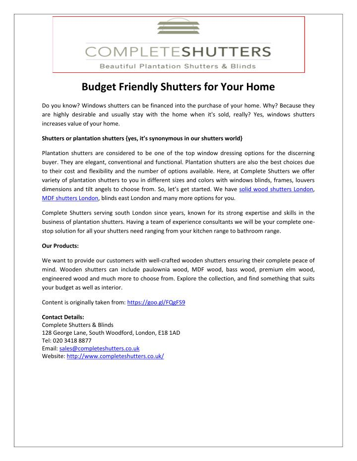 Budget Friendly Shutters for Your Home