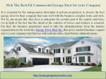 pick the best fit commercial garage door for your company