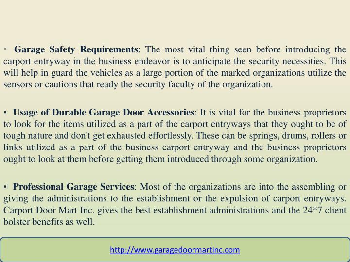 Garage Safety Requirements