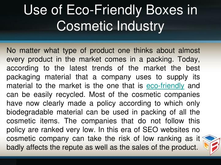 Use of Eco-Friendly Boxes in