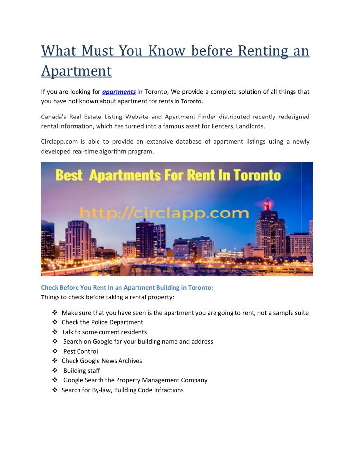 What Must You Know before Renting an
