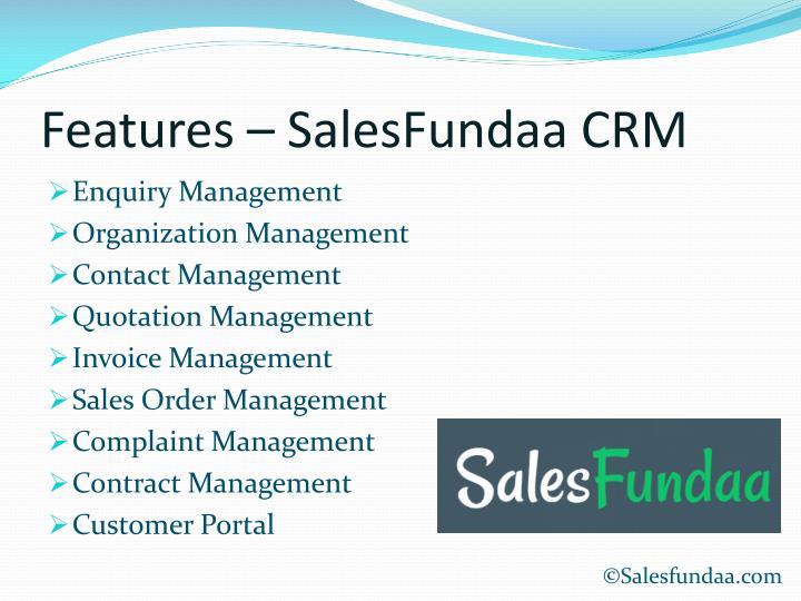 Features – SalesFundaa CRM