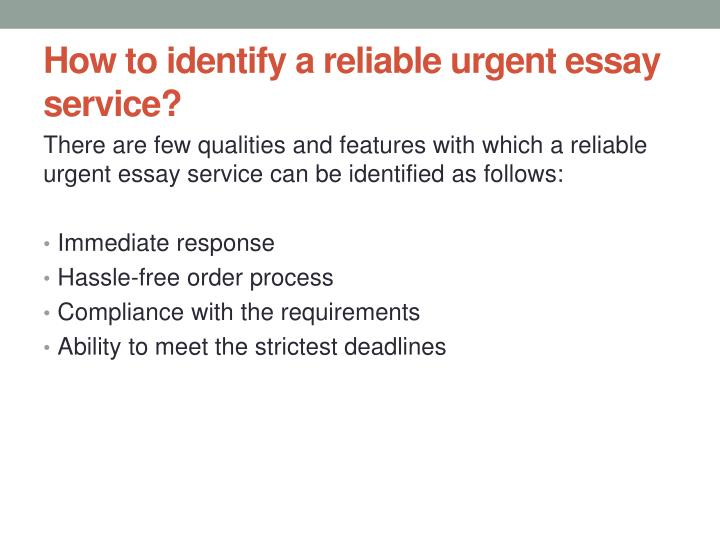 How to identify a reliable urgent essay service