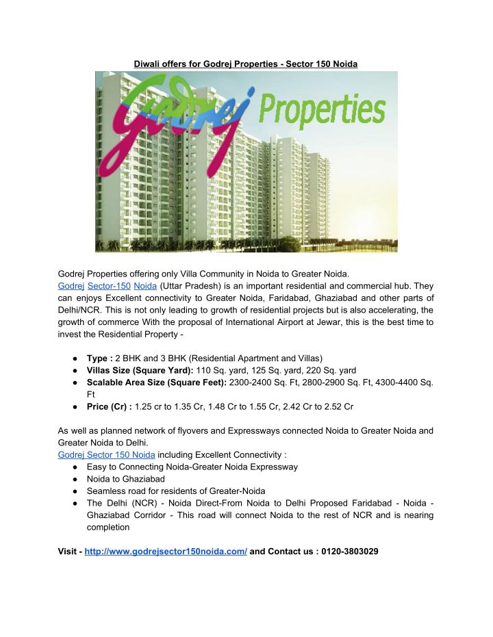 Diwali offers for Godrej Properties - Sector 150 Noida