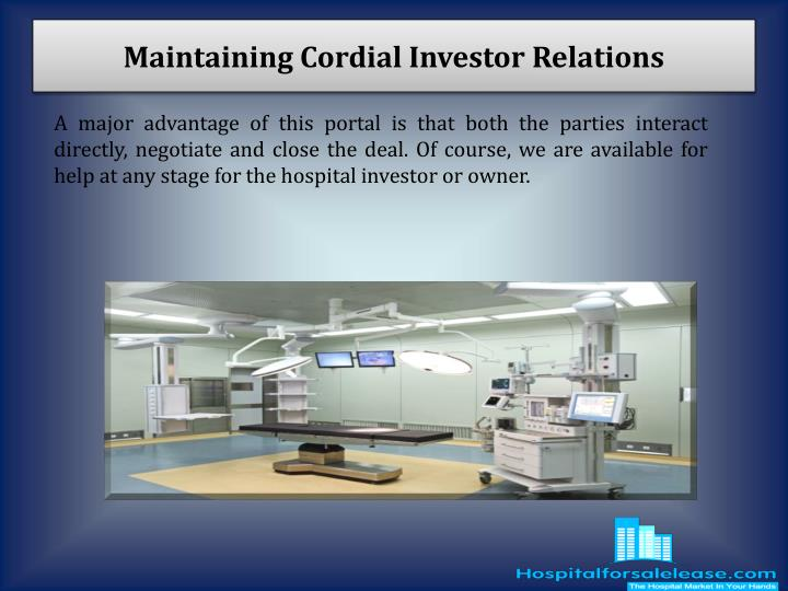 Maintaining Cordial Investor Relations