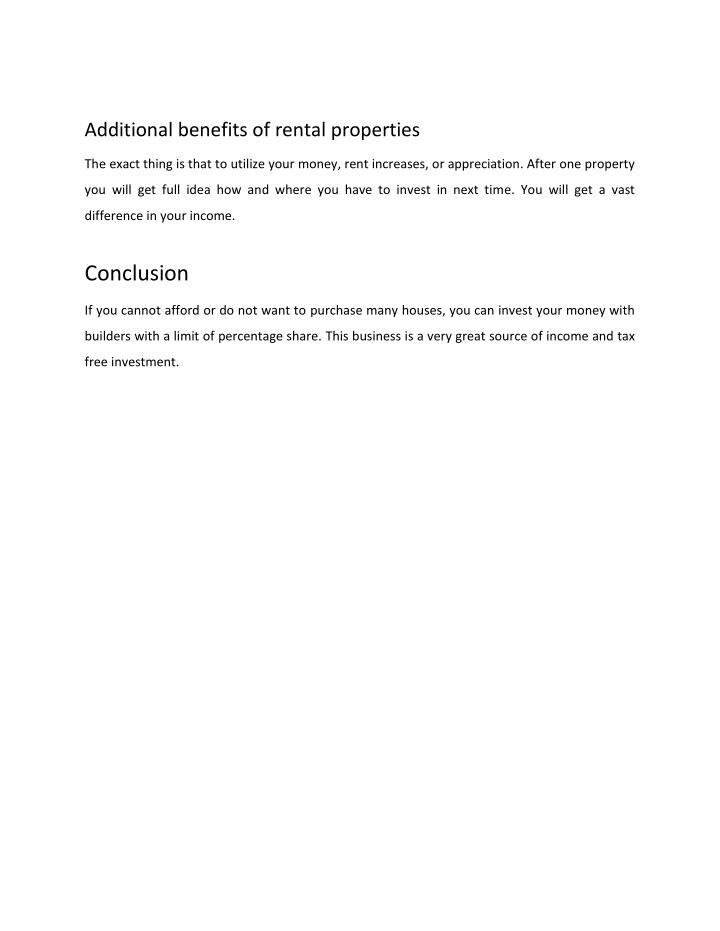 Additional benefits of rental properties