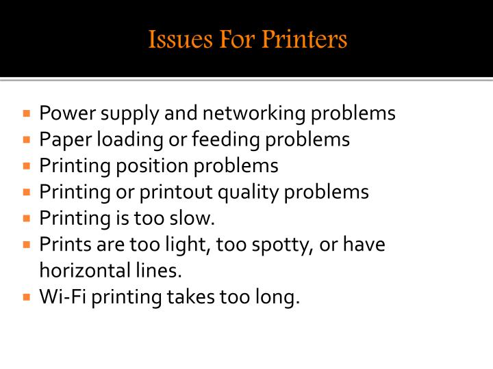 Issues For Printers