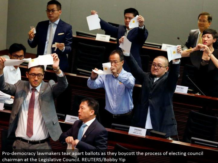 Pro-majority rules system legislators tear separated polls as they blacklist the way toward choosing committee administrator at the Legislative Council. REUTERS/Bobby Yip