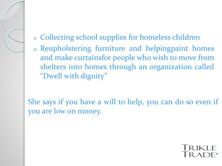 Collecting school supplies for homeless children