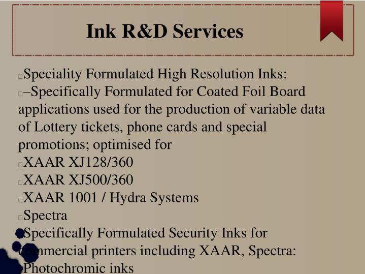 Ink R&D Services