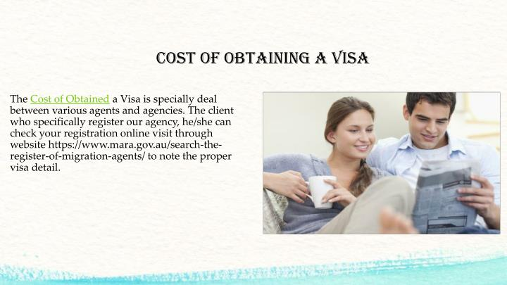 COST OF OBTAINING A VISA