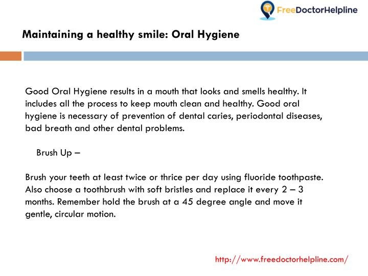 Maintaining a healthy smile: Oral Hygiene