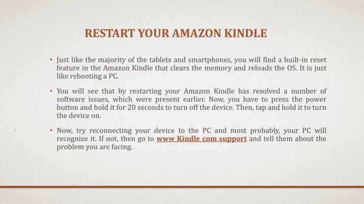 Restart your Amazon Kindle