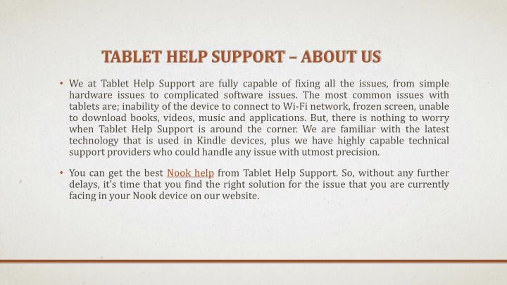 Tablet help support about us
