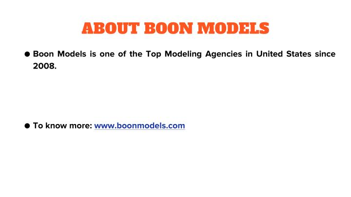 ABOUT BOON MODELS