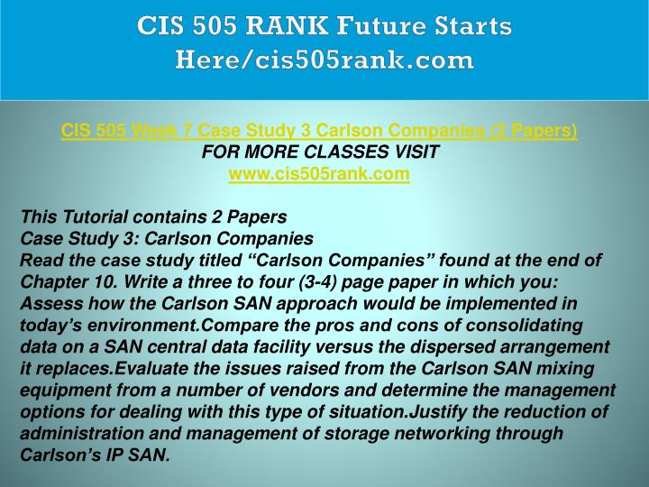 CIS 505 RANK Future Starts Here/cis505rank.com