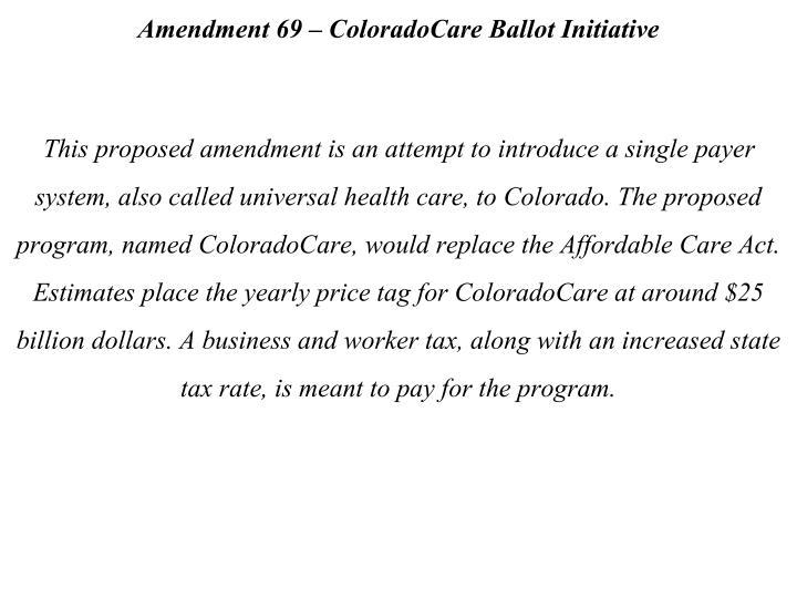 Amendment 69 – ColoradoCare Ballot Initiative