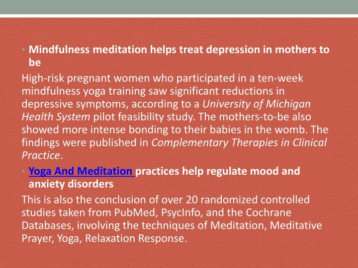 Mindfulness meditation helps treat depression in mothers to be