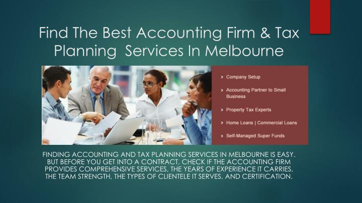 find the best accounting firm tax planning services in melbourne