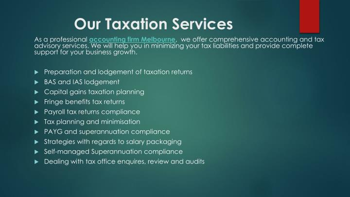 Our Taxation Services